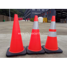 Black Base Flexible Fluorescent Oranfe PVC Road Safety Cones Traffic Cones